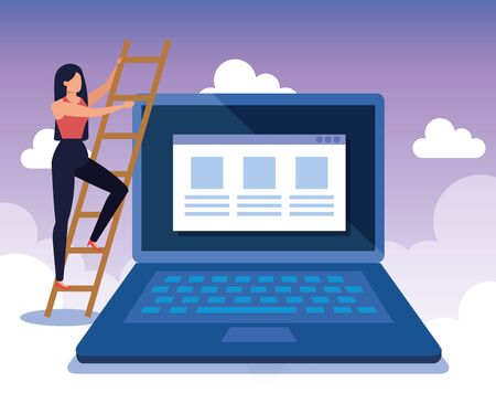 businesswoman with laptop technology and website data with clouds, vector illustration Zdjęcie Seryjne - 129824774