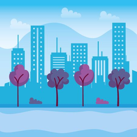 nature trees with buildings structure and mountains to urban cityscape, vector illustration Ilustração