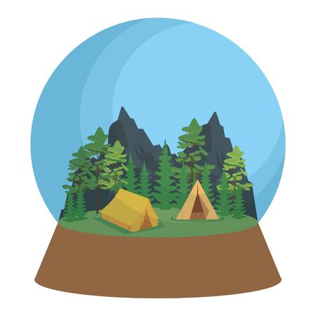 crystal ball with camping zone and camping tent scene vector illustration design