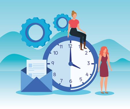 women teamwork with gears and clock with letter in the landscape mountains, vector illustration Ilustração