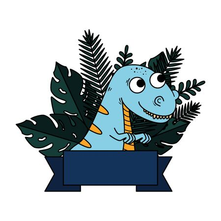 cute tyrannosaurus rex with exotic leafs frame vector illustration design Çizim