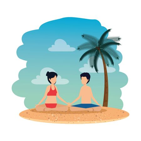 young couple with swimsuit practicing yoga on the beach vector illustration design Illustration