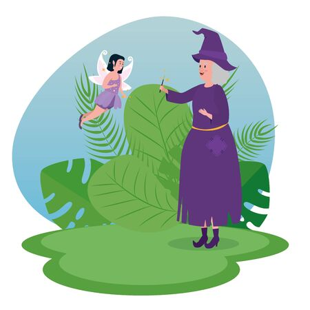 old woman witch and girl fairy flying to tale character, vector illustration