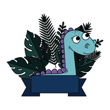 cute diplodocus with exotic leafs frame vector illustration design