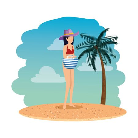 beautiful woman with swimsuit and handbag on the beach vector illustration 写真素材 - 129824782
