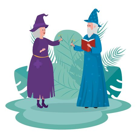 old woman witch and man wizard with magic wand to tale character, vector illustration Ilustrace
