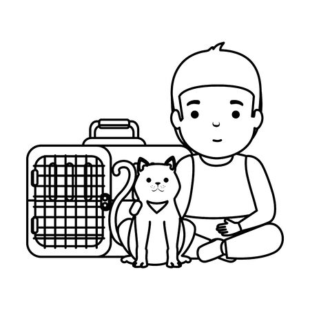 cute little boy with kitty in transport box vector illustration design