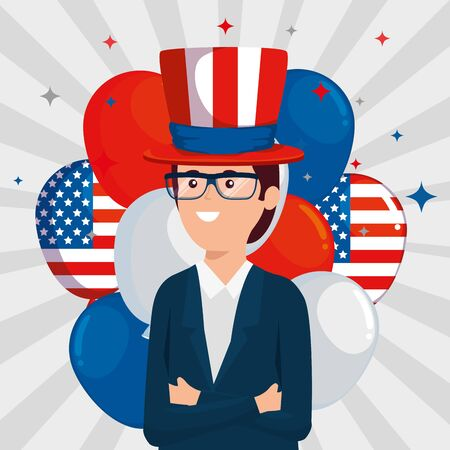 businessman with hat and glasses with usa balloons to labor day, vector illustration