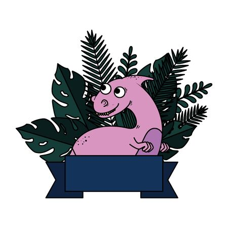 cute dinosaur with exotic leafs frame vector illustration design