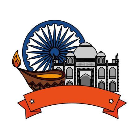 ashoka chakra indian with taj mahal vector illustration design 일러스트