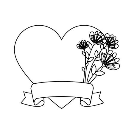 floral decoration with heart shape vector illustration design