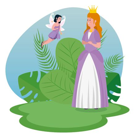 happy princess with crown and fairy flying to tale character, vector illustration