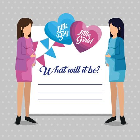 women pregnant of little girl and boy with letter invitation to baby shower vector illustration