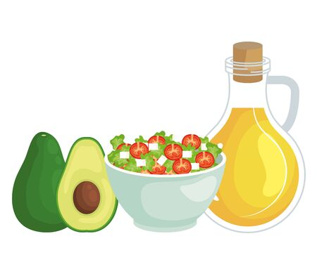 ceramic bowl vegetables salad with olive oil and avocado vector illustration