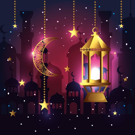 moon with stars and lamp hanging to celebration vector illustration