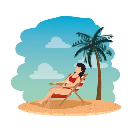 beautiful woman with swimsuit seated in beach chair on the beach vector design