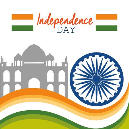 india flag with taj mahal decoration to independence day vector illustration