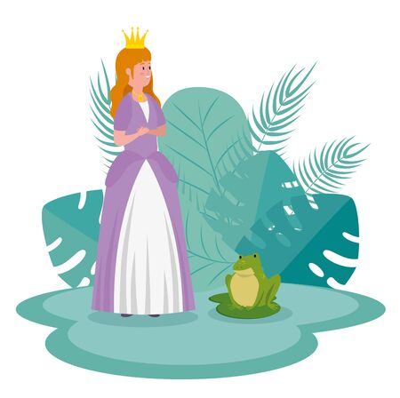 girl princess with frog and leaves with branches plants to tale character, vector illustration Stock Illustratie