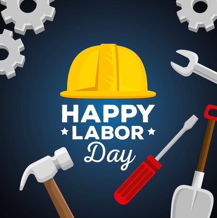 helmet with hammer and shovel with wrench and screwdriver to labor day, vector illustration Foto de archivo - 129824808