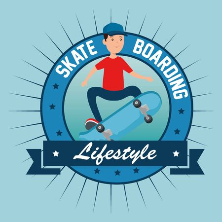 label of boy kid with skateboard and ribbon to extreme sport vector illustration
