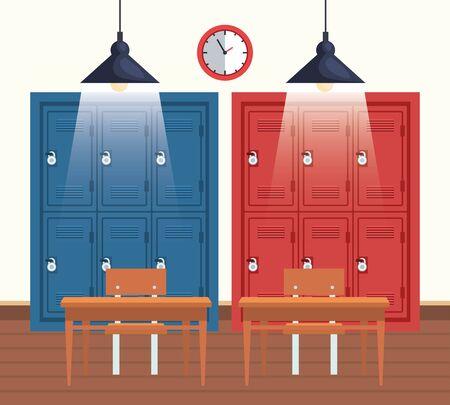 Reloj con casilleros de educación y escritorios en el aula para volver a la ilustración de vector de escuela
