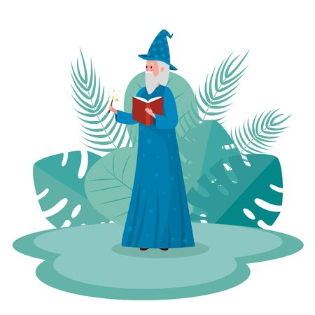 old man wizard with book and magic wand to tale character, vector illustration