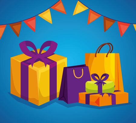hindu event with presents gifts and party banner to raksha bandhan, vector illustration