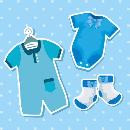 pijamas with socks decoration and special celebration to baby shower vector illustration