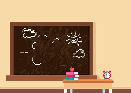 classroom scene with teacher desk and supplies vector illustration design