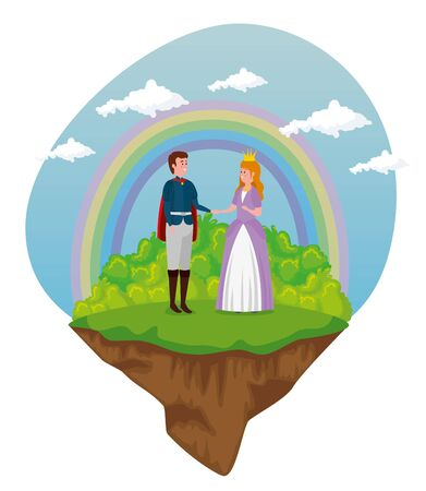 cute boy prince and girl princess with crown to tale character, vector illustration Ilustrace
