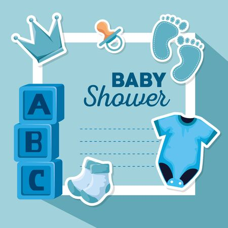 card of pijama with cubes and footprint with socks to baby shower vector illustration