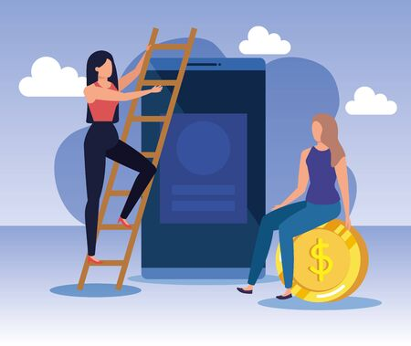 businesswomen with smartphone technology and coin money over purple background, vector illustration Zdjęcie Seryjne - 129824825