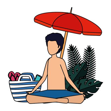 young man with swimsuit and umbrella practicing yoga vector illustration design 스톡 콘텐츠 - 129824833