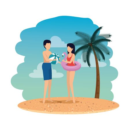 young couple with balloon and float on the beach vector illustration design