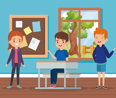 girl and boys children in the academic classroom with desk and note board vector illustration Иллюстрация