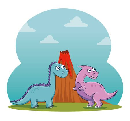 parasaurolophus with diplodocus wild dinosaur and volcano to prehistoric animals vector illustration