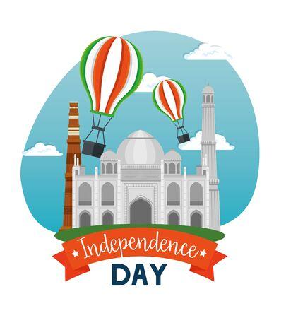 taj mahal with air balloons and ribbon decoration to independence day vector illustration Illusztráció