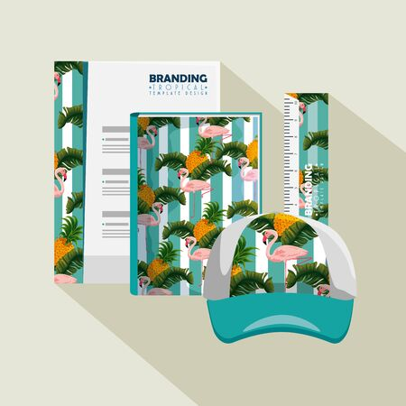 business paper with tropical style and cap with notebook vector illustration