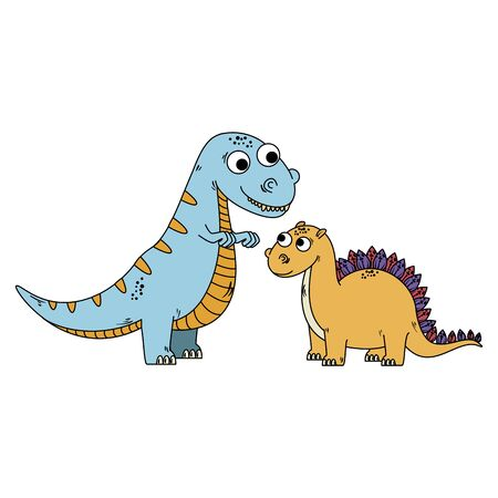 cute tyrannosaurus and diplodocus characters vector illustration design Çizim