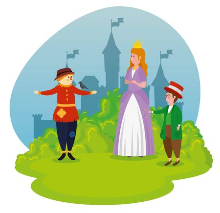 cute scarecow with girl princess and boy magician to tale character, vector illustration
