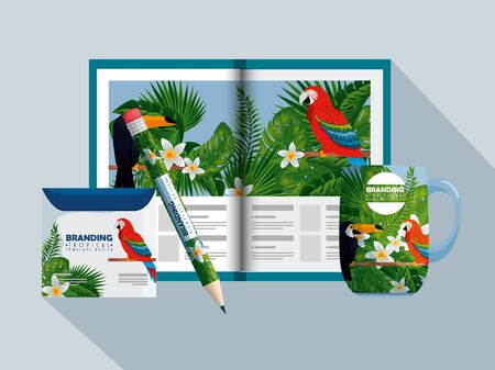 business brochure with tropical style and cd envelope vector illustration Zdjęcie Seryjne - 129824842