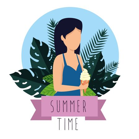 woman wearing swimsuit with ice cream and leaves plants to summer time vector illustration