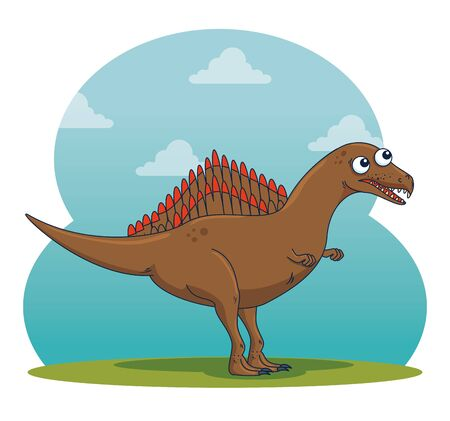 spinodaurus wild dinosaur character with clouds to prehistoric animal vector illustration