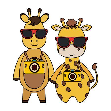 cute giraffes with camera and pineapple cocktail vector illustration design Archivio Fotografico - 129824847
