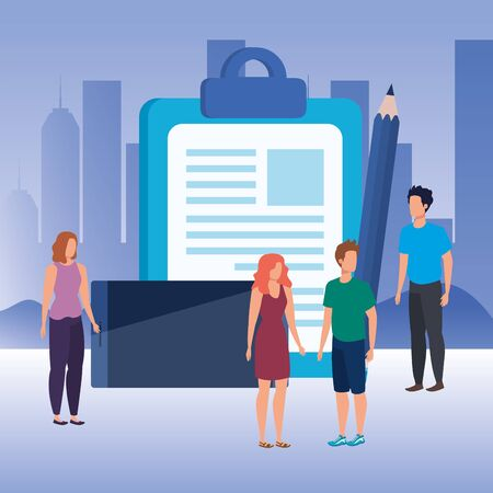group of people with checklist characters vector illustration design Çizim