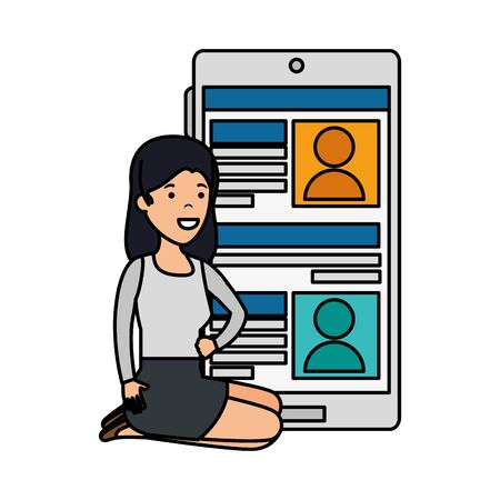 young woman in lotus position with smartphone vector illustration design