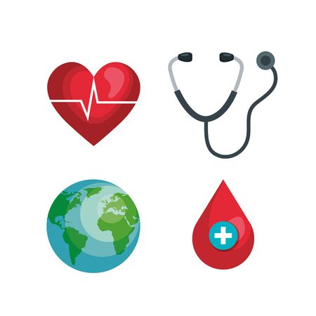 set heartbeat with stethoscope and blood drop vector illustration Иллюстрация