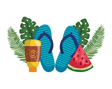 solar blocker bottle with flip flops and watermelon vector illustration design 向量圖像