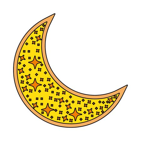 cute moon crescent isolated icon vector illustration design Иллюстрация
