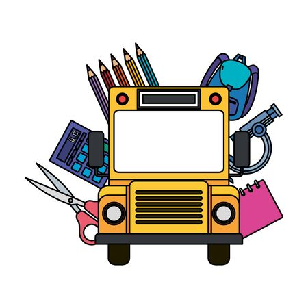 school bus transport with education icons vector illustration design Zdjęcie Seryjne - 129824868